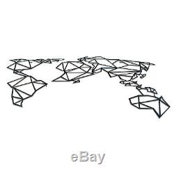 Geometric Metal World Map With Frames Luxury Wall Art Decor Wall Decoration
