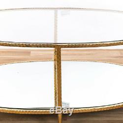Gin Shu Gold Gilt Leaf Parisienne Console Oval Coffee Table Glass Mirrored Shelf