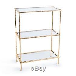 Gin Shu Gold Gilt Leaf Parisienne Metal Clear Glass Shelves Side Table Bookcase