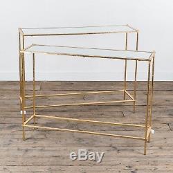 Gin Shu Parisienne Gold Rectangular Metal Glassed Nest of Side Tables Gilt Leaf