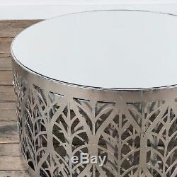 Gin Shu Silver Gilt Leaf Parisienne Metal Round Nesting Coffee Tables, Set of 2