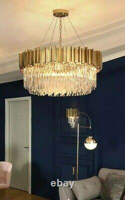 Gold Crystal modern Ceiling Light Pendant Chandelier Lamp