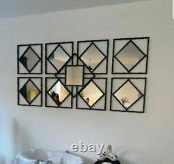 Gorgeous Set Of 3 Manhattan Mirrors Black Square Mirror Hallway Living room
