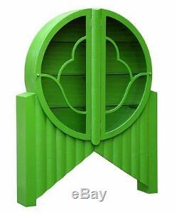 Green Moc Croc Vintage Retro Vintage Glass Cabinet shelves 139x28x178cm DUSX