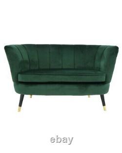 Green Velvet Scalloped Love Seat Sofa Mid Century Black with Brass Legs Chest