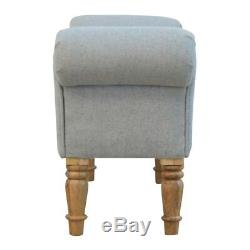 Grey Tweed Upholstered Bedroom Bench / Footstool / Ottoman