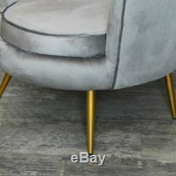 Grey Velvet Shell Chair art deco vintage luxurious bedroom living room accent