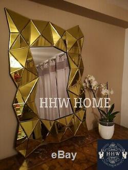 HHW 3D effect large Wall Mirror Gold designer modern Art Decorative 120cm x 80cm