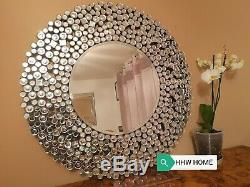 HHW Jewel sunburst Diamond large Round wall mirror sparkle bling art deco 90cm