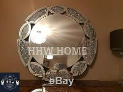 HHW large Crush Diamond Round wall mirror Gem Jewel sparkle bling art deco 90cm