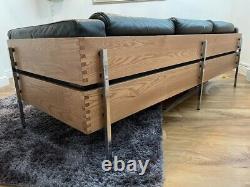 Habitat Robin Day Days Forum 3 Seater Mid Century Leather Sofa Brown dark