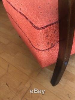 Halabala Style Art Deco Bentwood Armchair /Loft/ Scandi Vgc In Burned Orange