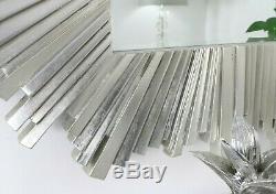 Hamilton Sunburst Silver Art Deco Rectangle Wall Mirror 50 x 35 (127cm x 89cm)