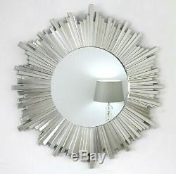 Hamilton Sunburst Silver Art Deco Round Wall Mirror 40 x 40 (100cm x 100cm)
