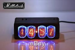 IN-12 NIXIE TUBE CLOCK ASSEMBLED WOOD ENCLOSURE AND ADAPTER 4-tubes by MILLCLOCK