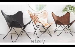 Industrial Leather Chair Vintage Butterfly Seat Metal Occasional Retro Lounge