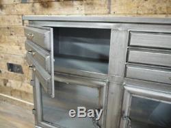Industrial style metal sideboard, Rustic metal cabinet with storage