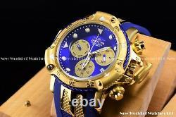 Invicta Men 55mm Subaqua 3 Poseidon AGE of EMPIRE Blue MOP Chrono 18k Gold Watch