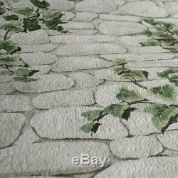 Ivy Brick Effect Wallpaper Stone Slate Textured Embossed White Green Erismann