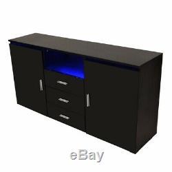 LED High Gloss 2 Door 3 Drawer Buffet Cabinet Sideboard Black Modern Furniture