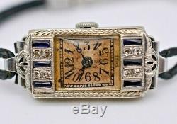 Ladies Art Deco Sapphire & Diamond PERLA Watch, 18k White Gold, Platinum Plated