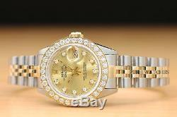 Ladies Rolex Datejust Factory Champagne Diamond Dial 18k Gold 2-tone Watch
