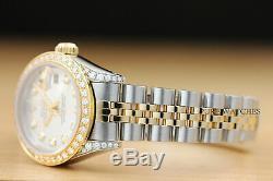 Ladies Rolex Datejust Two Tone 18k Yellow Gold Diamond & Steel Quickset Watch
