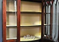 Large Antique Edwardian Inlaid Mahogany Bow Front Display Cabinet, Newly Lined