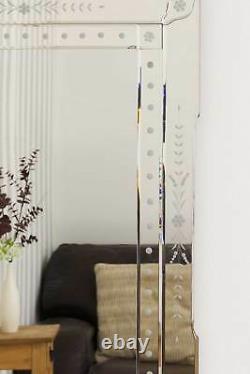 Large Antique Style Art Deco Venetian Wall Mirror 4Ft X 1Ft11 122cm X 59cm