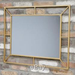 Large Gold Mirror Rectangle Art Deco Metal Wall Hanging Portrait Landscape New