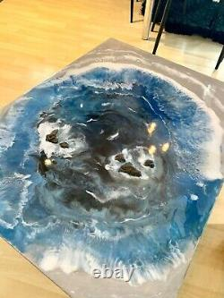 Large Handmade Ocean Rock waves Resin Art Painting Home Decor Coffee/side Table