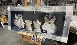 Large Lion pride of the family wall picture in mirrored frame, lion family