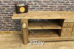 Large Reclaimed Rustic Pine Sideboard Industrial Style Unit Work Bench