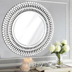 Large Venetian Glass 3D Modern Sunburst Decorative Wall Mirror Hanging Hallway