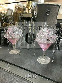 Large pink 4 Cocktail glass 3D glitter art mirrored picture, mirrored frame