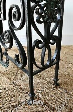 Late 20th Century French Marble Iron Bronze Console Hall Side Table