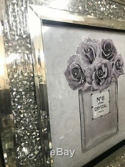 Lilac perfume bottle glitter picture with mirror diamond sparkle frame