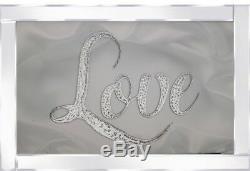 Love sparkle glitz mirrored picture, Love glitter art wall picture mirror frame