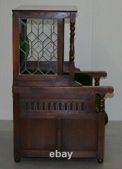 Lovely Edwardian Oak Lead Lined Glass Chesterfield Buttoned Porters Armchair