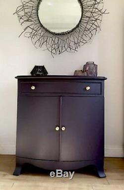 Luxurious Dark Drinks Cabinet Cupboard, Brass Handles, Storage Aubergine