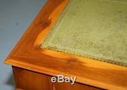 Luxury Huge Extra Legroom Burr Yew Wood Twin Pedestal Partner Desk Green Leather