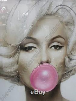 Marilyn Monroe with pink bubble gum, crystals, liquid art & mirror frame picture