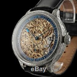 Men's Skeleton Wrist Watch Vintage 1914 Mechanical 15 J Restored Swiss Movement