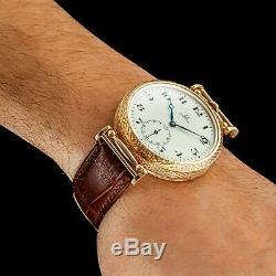 Men's Wrist Watch Vintage Mechanical Restored Swiss Omega Movement Enamel Dial