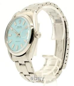 Mens ROLEX Oyster Date Precision 6694 Stainless Steel BABY BLUE Dial Watch