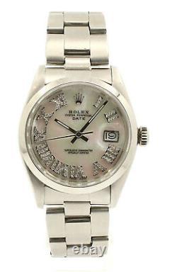 Mens ROLEX Oyster Perpetual Date 34mm White MOP Roman Dial Diamond Steel Watch