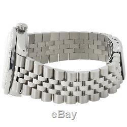 Mens Rolex 36mm DateJust Diamond Watch Jubilee Steel Band White MOP Dial 2 CT
