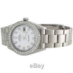 Mens Rolex 36mm DateJust Diamond Watch Oyster Steel Band White MOP Dial 2 CT