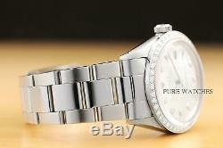 Mens Rolex Datejust Silver Diamond 18k White Gold Bezel & Stainless Steel Watch