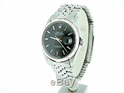 Mens Rolex Stainless Steel/18K White Gold Datejust Black withJubilee Band 1601